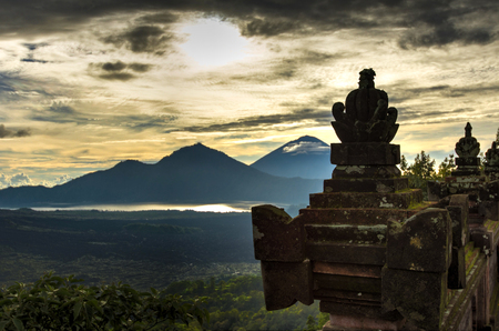 Pura Ulundanu Batur Temple, the important hindu temple in Kintamani, Bali island, Indonesia Stock Photo