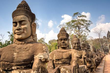 raider: Angkor South Gate Wat temple, Siem Reap, Cambodia Hinduism Khmer culture buildings Stock Photo