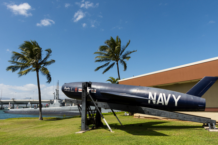 cadet blue: HAWAII - MARCH 2: Close up composition of the Navys Regulus missile in Pearl Harbor Hawaii on March 2, 2016. Stock Photo