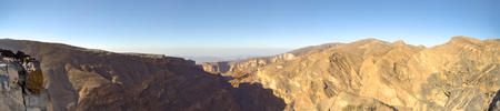 Panorama Omani Mountains at Jabal Akhdar in Al Hajar Mountains, Oman at sunset. This place is 2000 meters above sea level. Stock Photo