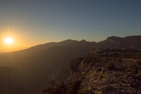 Sunset Omani Mountains at Jabal Akhdar in Al Hajar Mountains, Oman at sunset.