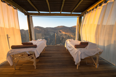 Spa Omani Mountains at Jabal Akhdar in Al Hajar Mountains, Oman at sunset. This place is 2000 meters above sea level. Editorial