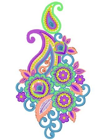 Paisley small floral illustration design elements Ilustracja