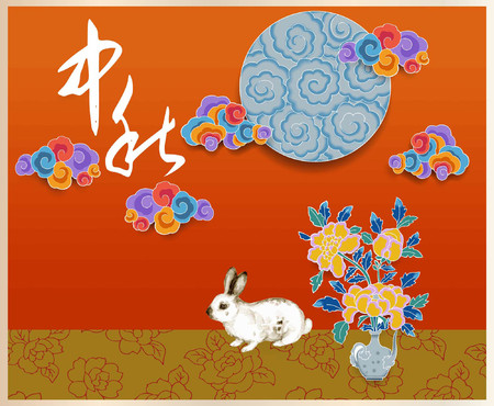 The setting of the Mid Autumn Festival and the rabbit and flower Illustration