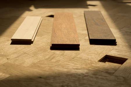 merbau, maple and wenge in oak flooring Stock Photo