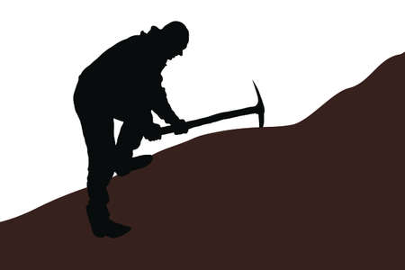 Geologist makes soil samples for the presence of gold. Illustration