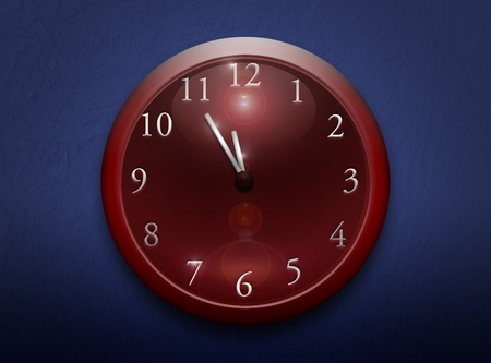 Red clock pointing 5 before twelfe on a blue background Stock Photo - 8824122
