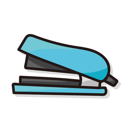 stapler: grapadora de color del doodle Vectores