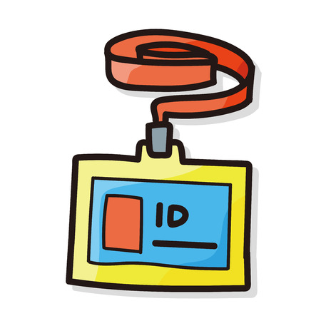 hand holding id card: ID card color doodle