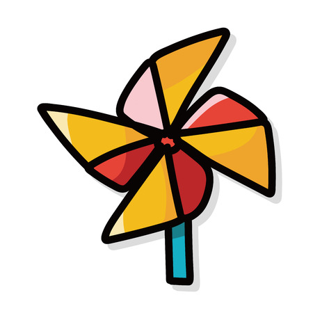 wind mill toy: Windmill color doodle