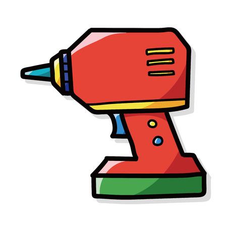 taladro electrico: Taladro el�ctrico del color del doodle