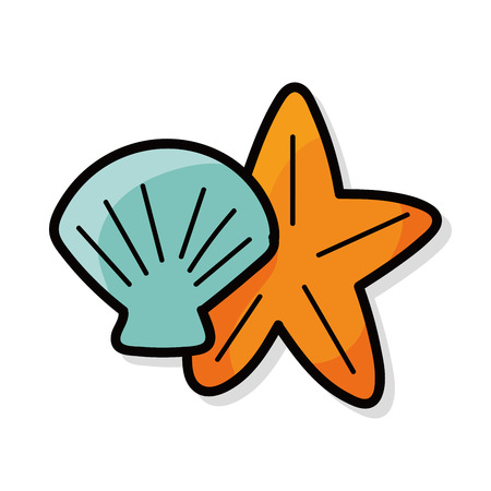 conchas: Shells with starfish color doodle