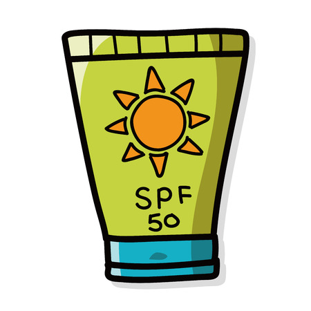 suntan lotion: Sunscreen color doodle