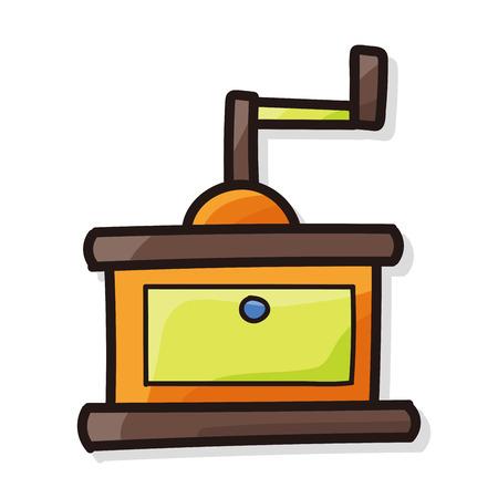 grind: coffee grind machine color doodle Illustration