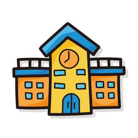 escuela edificio: la escuela edificio color del doodle Vectores