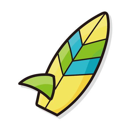board: surf board color doodle Illustration