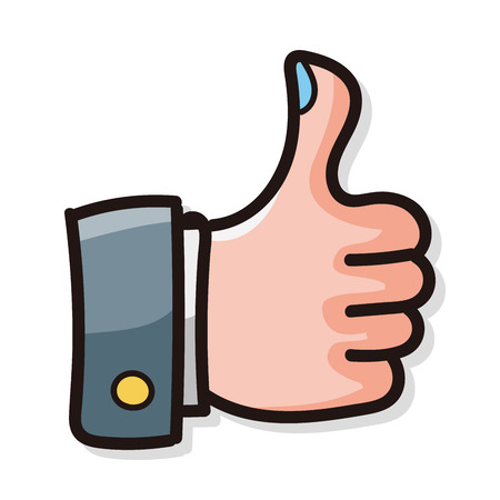 finger up: thumbs up color doodle Illustration