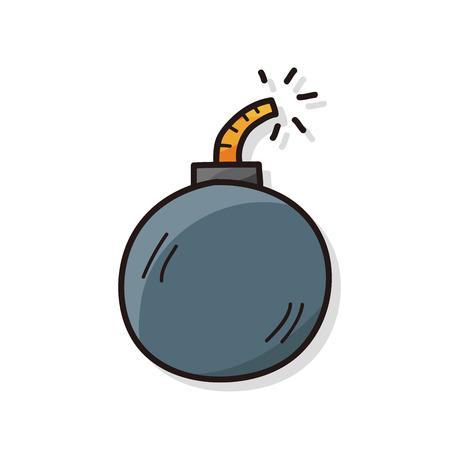 burning time: bomb color doodle Illustration