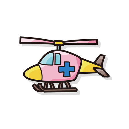helicopter rescue: medical helicopter color doodle