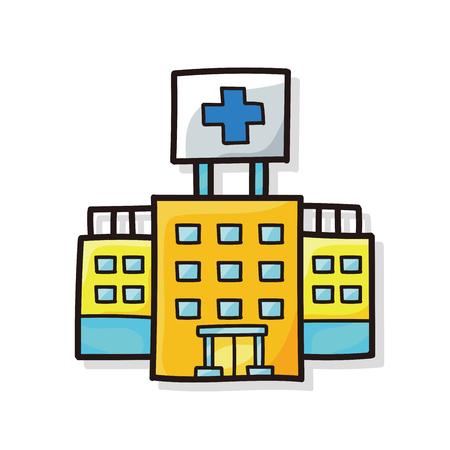 building color: hospital building color doodle Illustration