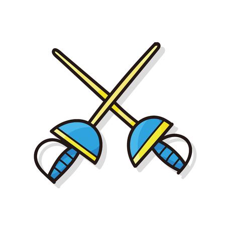 swordsmanship: Fencing doodle Illustration