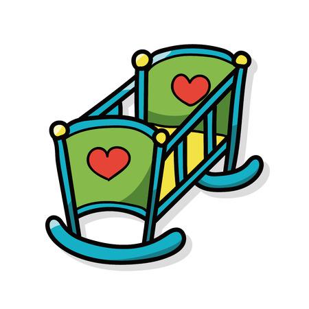 baby bed doodle Stock Illustratie