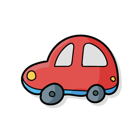 child drawing: toy car doodle Illustration