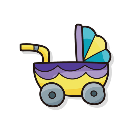 Baby carriages doodle Illustration