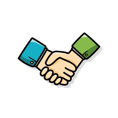 teamwork cartoon: shake hands doodle