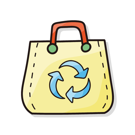 recycled: Recycled shopping bag doodle Illustration