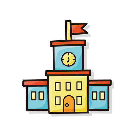 school books: school building doodle Illustration
