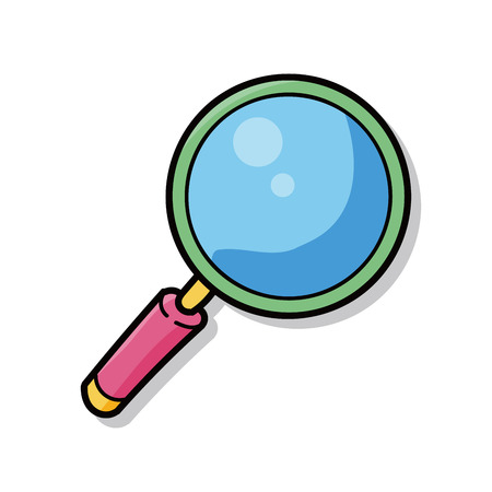 magnifier glass: Magnifying glass doodle Illustration