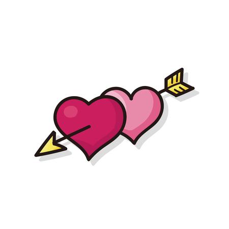valentines heart arrow doodle