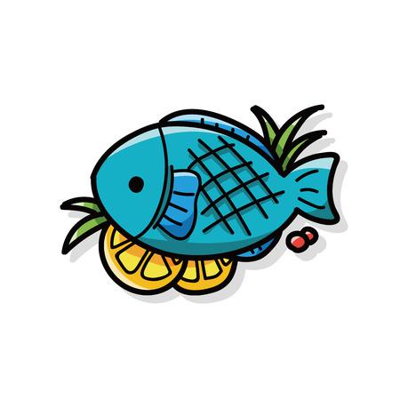 comidas saludables: pescados del doodle de la carne
