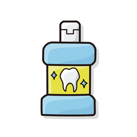 mouthwash: Enjuague bucal del doodle Vectores