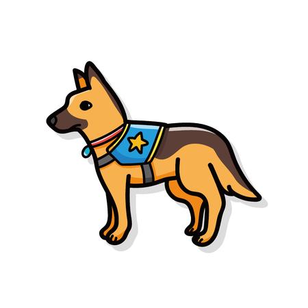 Police dog doodle Иллюстрация