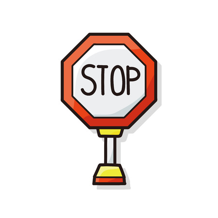 barriers: stop sign safety barriers doodle Illustration