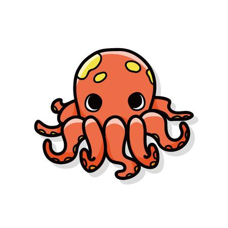 sea animal: sea animal octopus doodle Illustration