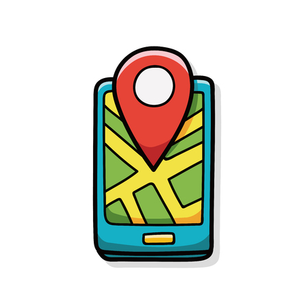 cellphone in hand: cellphone map doodle
