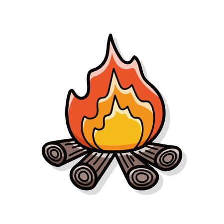 campamento: doodle de fuego de campamento Vectores