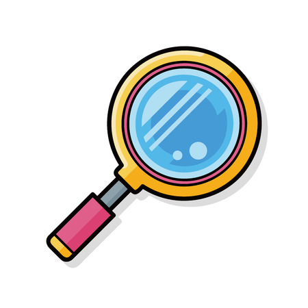 Magnifying glass doodle Stock Illustratie