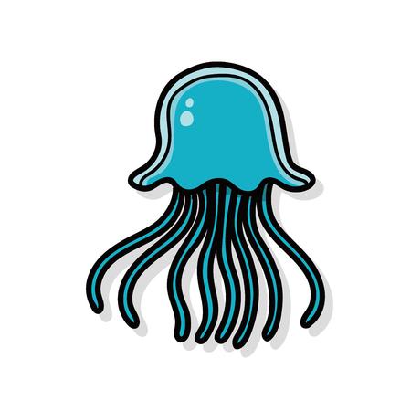 sea animal: sea animal jellyfish doodle