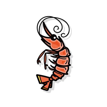 sea animal: sea animal shrimp doodle