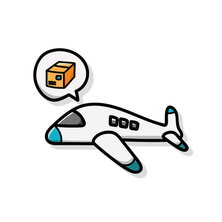 airplane cargo: airplane cargo doodle Illustration