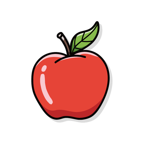 red icons: apple doodle