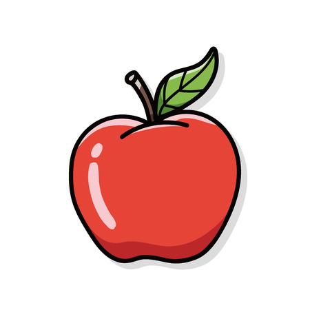 manzana roja: doodle de manzana