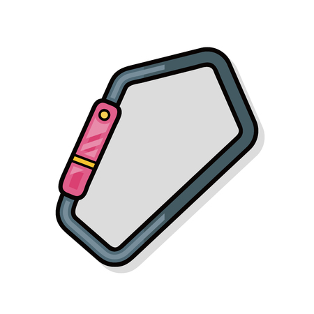 safety harness: Climbing safety lock doodle Illustration