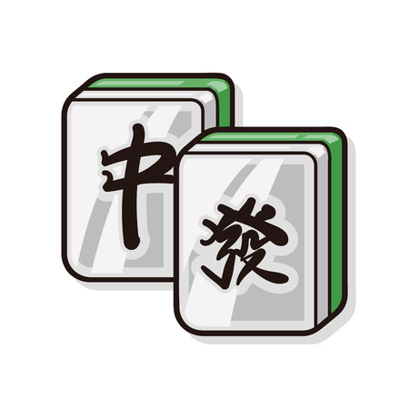 palying: Chinese mahjong doodle Illustration