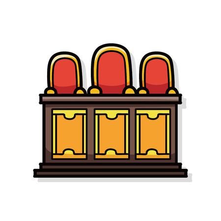 courts: judges bench doodle Illustration