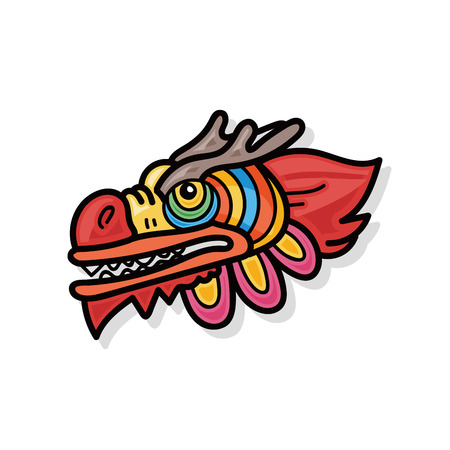 chinese new year dragon and lion dancing head doodle stock vector 45904632